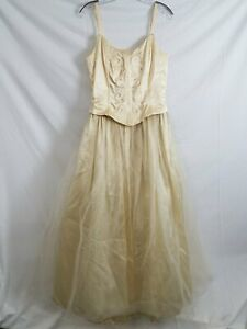 Jessica McClintock Gunne Sax Off-White Sleeveless Tulle Gown Women's 11/12