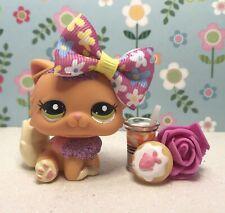 Authentic Littlest Pet Shop # 2275 Orange Fuschia Glitter Sparkle Persian w Bow