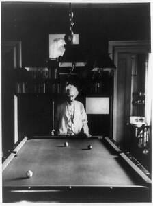 Mark Twain,holding cue stick,pool table,billiards,author,novels,Tom Sawyer 3329