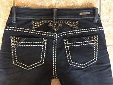 LA IDOL Women's Jeans Rivet Studded Thick Stitched Dark Wash Size 5 27 X 32