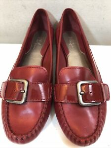 Cole Haan Women's Red Leather Driving Moccasin Buckle Loafer Flats Size 8 AA