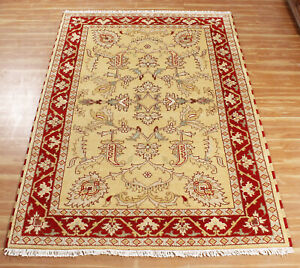 Indien Handmade Gold Floral Carpet 5x8 Hand Knotted Traditional Area Wool Rugs
