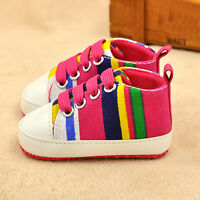 Newborn Infant Baby Girl Boy Soft Sole Crib Shoes Canvas Pram Anti-slip Sneakers