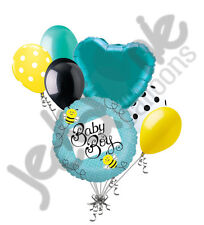 7 pc Baby Boy Buzzy Bee Balloon Bouquet Party Decoration Welcome Home Shower