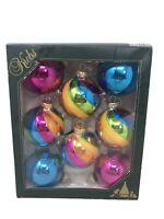 "Christmas By Krebs Elegant Glass Ornaments Blue Purple Rainbow Holiday 3"" Balls"