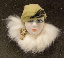 LADY HEAD Woman FACE Porcelain-Look Resin brooch pin Figural Artisan White Fur