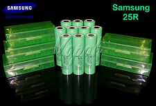 10 SAMSUNG 25R 18650F HIGH DRAIN 2500mAh 20A Rechargeable Battery/Green Case x5