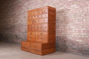 Antique Oak 24-Drawer Card Catalog File Cabinet, Circa 1920s