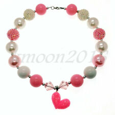 Hot Sweet Pink heart Beads Bubblegum Necklacet for Kids Gift Chunky Gumball