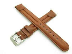 High Quality Genuine Brown Leather 16mm (L) Long Watch Band W/ Pins Included