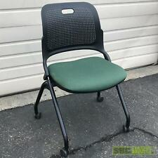 Allsteel Flip Up Seat Office Chair Seat Green Rolling Portable Folding