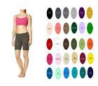 Woman Cotton Spandex High Waist Fold Over Yoga Bike Shorts S-4XL 30 Colors USA