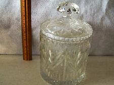 """LEAD CRYSTAL GLASS LIDDED  JAR 7"""" TALL X 5"""" WIDE  PERFECT CONDITION   #442"""