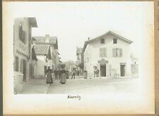 Street scene, Biarritz, France. Original 1890s platinum print photograph