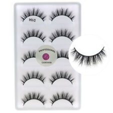 New 5Pairs/lot 3D Real Mink Fake Eyelashes Cross Messy Natural False Lashes D104