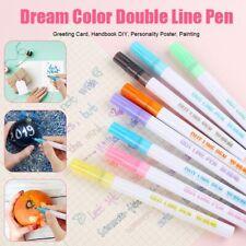 Glitter Color Fluorescent Marker Metal Color Pen Double Line Contour Pen 8pc/set