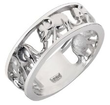 925 Sterling Silver Elephant Family Migration Ring Sizes 4-15 NEW