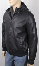 Tommy Hilfiger Black Faux Leather Hooded Coat Jacket NWT...