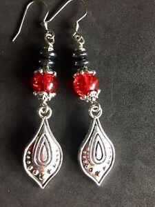 Teardrop Earrings With Hematite Disc