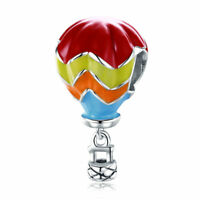 Colorful 925 Sterling Silver Hot Air Balloon & Enamel Charm Fit Bracelet Chain