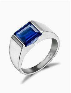 925 Silver Lab Created Sapphire Gemstone Men's Solitaire Wedding Statement Ring.