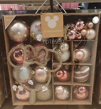 Disney Mickey Minnie Mouse Christmas Tree Decoration Baubles 25 Rose gold pink