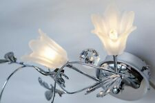 Wall sconce 2 arms glass crystal chrome metal carved sheet modern lighting