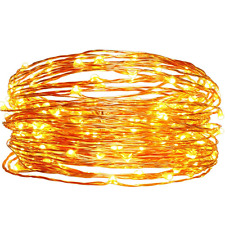 Solar Christmas String Lights,easyDecor Copper Wire 100 LED 33ft Warm White Wate