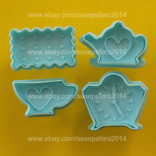 Teapot, tea cup, clock, biscuit plunger cookie cutter with stamp 4 pcs. set