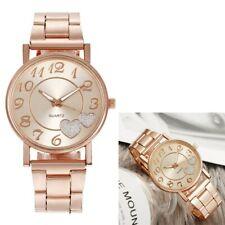 Ladies LARGE 40mm BIG wrist steel Band Rose gold glitter Hearts Wrist watch