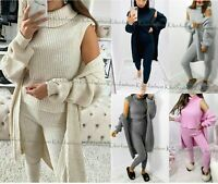Womens 3 Piece SUIT Roll Neck Chunky Knitted Tracksuit Ladies Rib LoungeWear Set