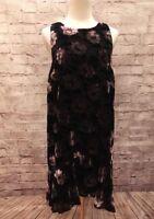 NWT Ann Taylor LOFT Black and Gray Iced Floral Velvet Swing Shift Dress Size M