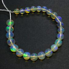 4.8mm-6.2mm Fine Ethiopian Crystal Opal Plain Round Beads 5 inch strand