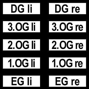 10 Aufkleber Hausverwaltung EG OG DG Haustür Wohnungstür Briefkasten Stromzähler