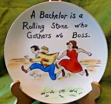 Wedding Gift Funny Norcrest Fine China Plate A Bachelor is a Rolling Stone