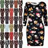 Ladies Christmas Bodycon Womens Xmas Santa Reindeer Rudolph Snowflake Mini Dress