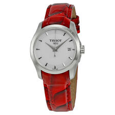 Tissot Couturier White Dial Red Leather Ladies Watch T0352101601101