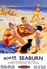 L'ARTE Annuncio Roker e SEABURN British Railways viaggi in treno ferrovia poster stampati