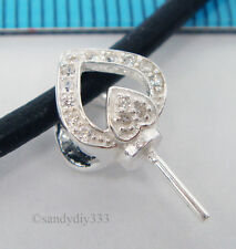 1x STERLING SILVER CZ CRYSTAL HEART PEARL BAIL PIN PENDANT SLIDE CONNECTOR #2112