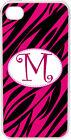 One Initial Curlz Monogram Fuchsia Pink and Black Zebra Design iPhone 4 4s Case