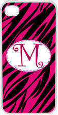 One Initial Curlz Monogram Fuchsia Pink and Black Zebra Design iPhone 4 4s Case