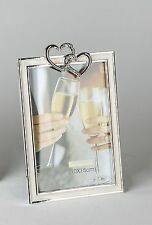 Cadre Photo Cadre Photo moderne avec 2 cœurs en aluminium argent 10x15 cm