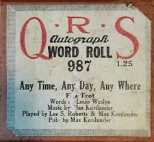 ANY TIME, ANY DAY, ANY WHERE QRS RECUT PLAYER PIANO ROLL