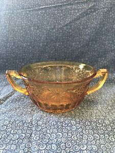 VTG Amber 2 Handled Sugar Bowl Colored Glass Sugar Bowl Candy Dish Floral Desi