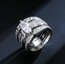 Marquise Cut CZ Rings White Gold Plated for Bridal Engagement Wedding Ring Set