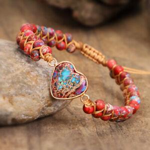 Natural Red Stone Beads Handmade Jewelry Women Men Heart Shape Braided Bracelet