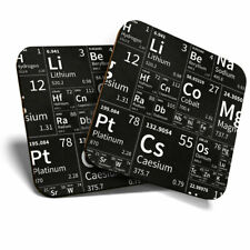 2 x Coasters - Black Periodic Table Elements Science Home Gift #14467