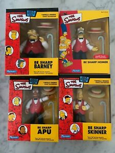 RARE!!  The Simpsons WOS Playmates Be Sharp SET Homer Skinner Apu Barney - all 4