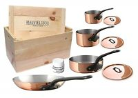Mauviel M'250c 7 Piece Copper Cast Stainless Steel Cookware Set w/ Wooden Crate