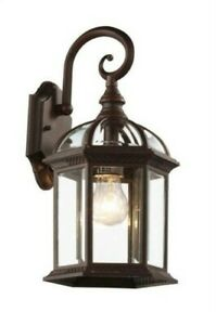 Trans Globe Wall Mount 1-Light Outdoor Rust Lantern Sconce w/ Glass 4181RT
